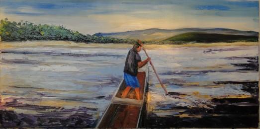Marina Jardim - Homem Remando - óleo sobre tela - 40 x 80 cm
