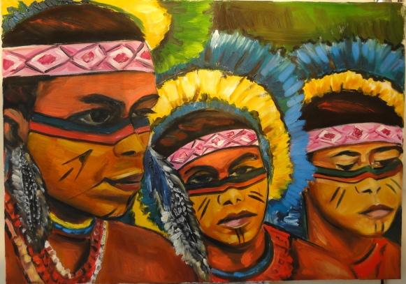 Marina Jardim - Índios Machacalis - óleo sobre tela - 46 x 65 cm