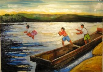 Marina Jardim - Menino Pulando no Rio 2 - óleo sobre tela - 45 x 65 cm