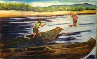 Marina Jardim - Meninos Pulando no Rio 1 - óleo sobre tela - 50 x 80 cm